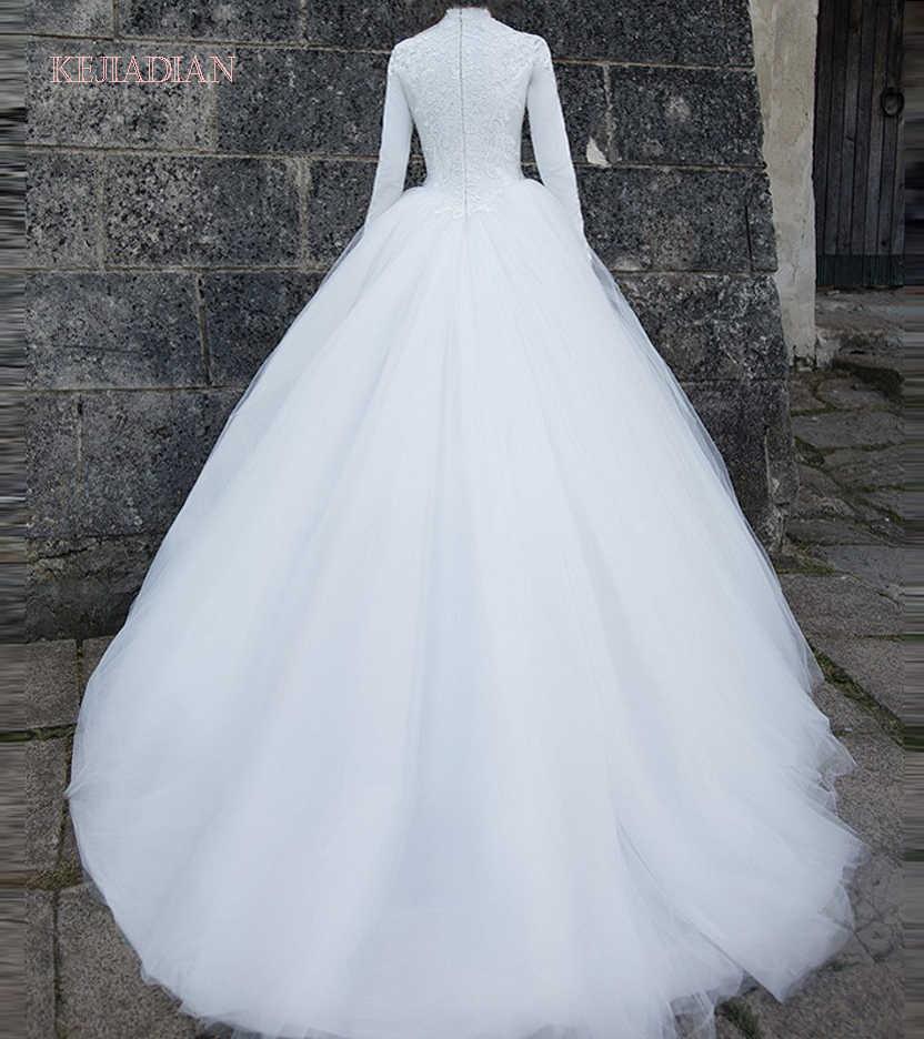 סין שמלות כלה בציר תחרה ערבי ארוך חיג 'אב חתונה שמלה 2021 חתונה מוסלמית תמונות Vestido דה Noiva 2021