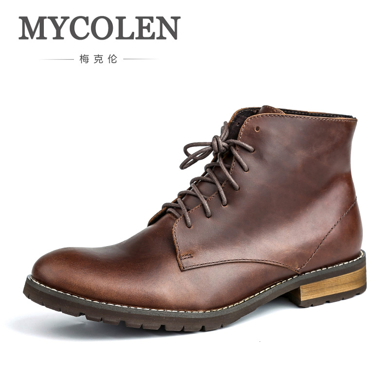 MYCOLEN High Quality Genuine Leather Shoes New Fashion Men Boots High Top Martin Motorcycle Autumn Winter Shoes Snow Boots 2016 new arrival men winter martin ankle boots pu leather high quality fashion high top shoes snow timbe bota hot sale flat heel