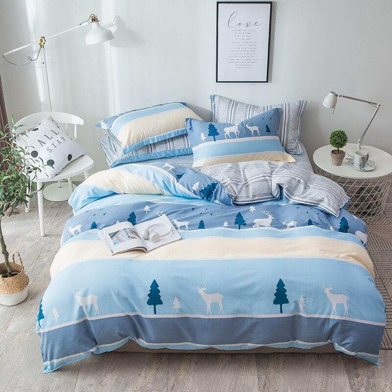2019 New Cartoon Animals Deer Bear Bedding Set Cotton Queen King Size 4Pcs Print Tree Duvet Cover Set Flat Sheet Pillow Cases