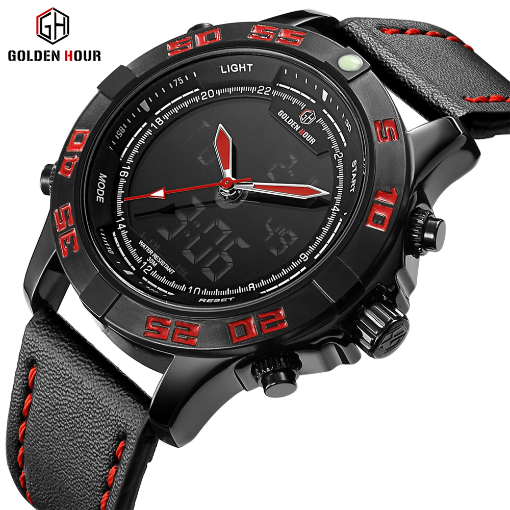 GOLDENHOUR Top Brand Luxury Quartz Analog Led Watches Men Leather Clock Men's Army Military Sports Wrist Watch Relogio Masculino binger brand men watches military vogue leather self wind analog clock army mens sports wrist watch stainless steel buckle
