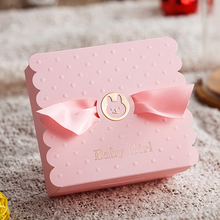 50pcs/lot New Creative Blue Pink Baby Shower Favors Gifts Candy Boxes Party Gift Box Sweets Chocolates Box Free Shipping free shipping pencil shaped chocolate gifts 3d puzzle toy stickers 50g sweets and candy food candy box