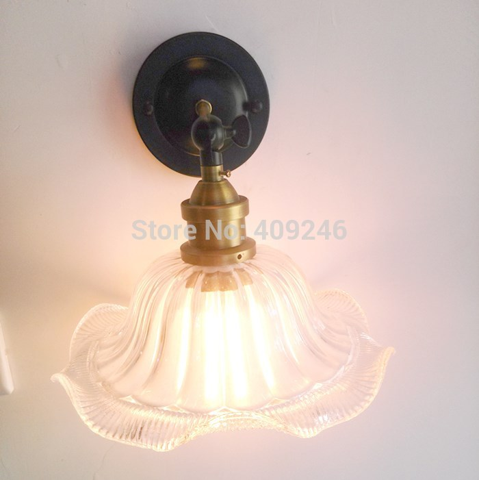 LOFT Industrial Vintage Retro Edison 90 Degree Adjust Flower Thick Glass Wall Lamp Lighting For Cafe Bar Bedside Hall Balcony loft vintage edison glass light ceiling lamp cafe dining bar club aisle t300