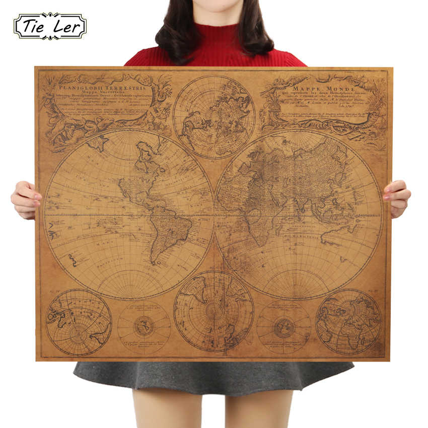 TIE LER Vintage World Map Home Decoration Antique Poster Wall Chart Retro Paper Matte Kraft Paper Map World Wall Sticker