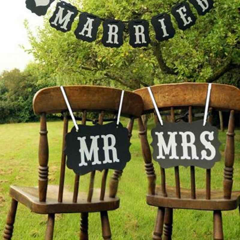 Mr Mrs MENGXIANG 1 set DIY Hitam Kertas Karton + Pita Tanda Photo Booth Props Pernikahan dekorasi Partai Favor photocall untuk pernikahan