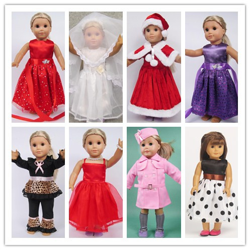 10pcs mix styles Christmas gift 18 inch American Girl Doll cute Clothes dress Fits 18 American Girl dolls 9 colors american girl doll dress 18 inch doll clothes and accessories dresses