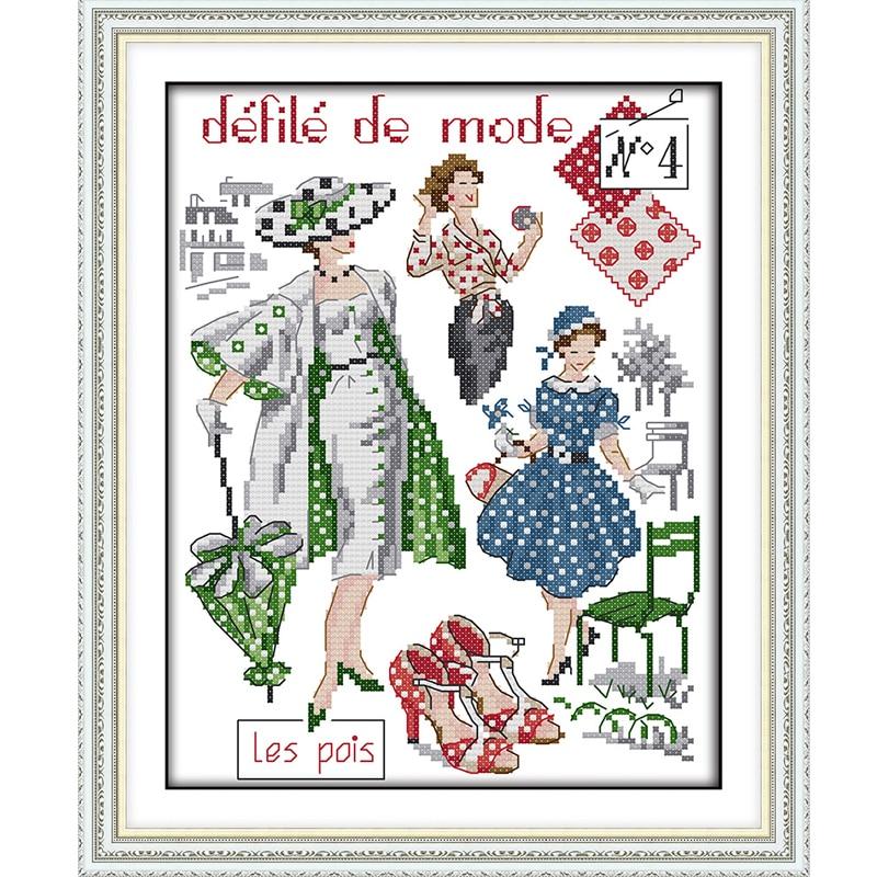 Joy Sunday,Fashion models,Cross Stitch Embroidery Set,Printed Set,Needlework, embroidery cross stitch patterns
