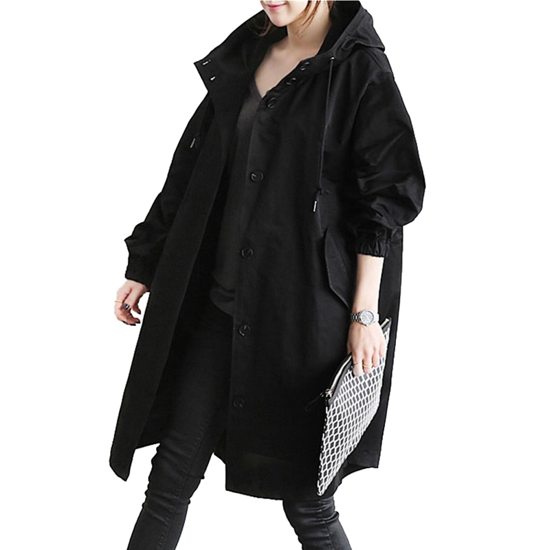 NEW   Trench   coat women Spring autumn Loose Hooded Windbreaker Casual tops female Large size Single-breasted students   trench   H635