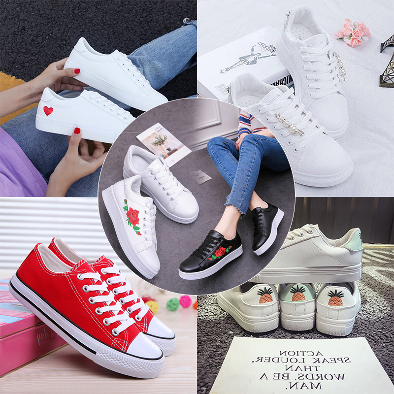 Women Casual Daily Vulcanized Shoes Vacation Outdoor Shoes Fruit Flower Fashion Simple White Shoes Sneakers Spring Platform