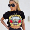 HimanJie Sexy Hollow Women T-Shirt 2016 New Print Crop Top T Shirt Cropped Tops O Neck Short Sleeve Tee Shirt Femme