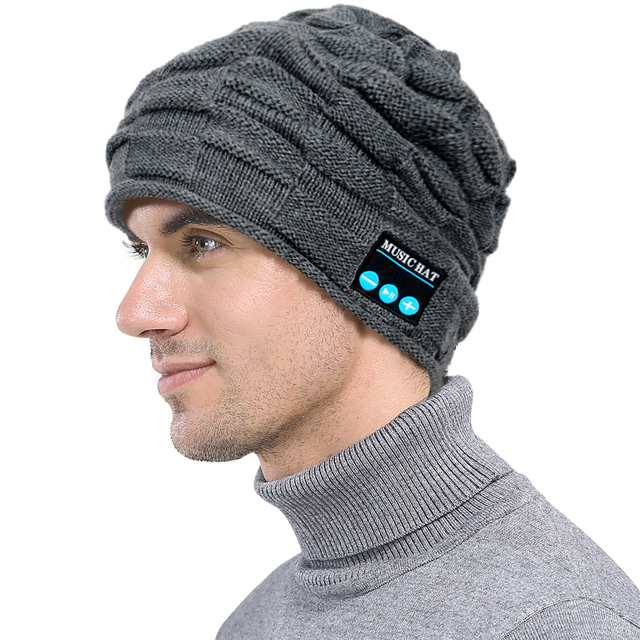 c6c061c4f3553 Puckery Men Women Wireless Smart BT Beanie with Build-in Stereo Speakers  Knitted Hat Fashion Listen Music for Running Walking