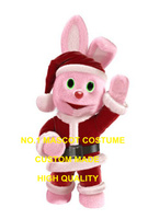 pink Christmas bunny mascot costume adult size hot sale new XMAS RABBIT pet theme anime cosplay costumes carnival fancy 2929