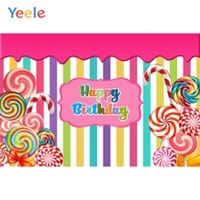 Yeele Colors Stripe Lollipop Candyland Baby Birthday Photography Backgrounds Customized Photographic Backdrops for Photo Studio