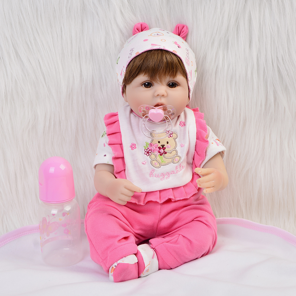 Sucking Pacifier Lifelike Reborn Baby Doll Toy 40 Cm Alive Bebe Soft Silicone 16 Babies Doll