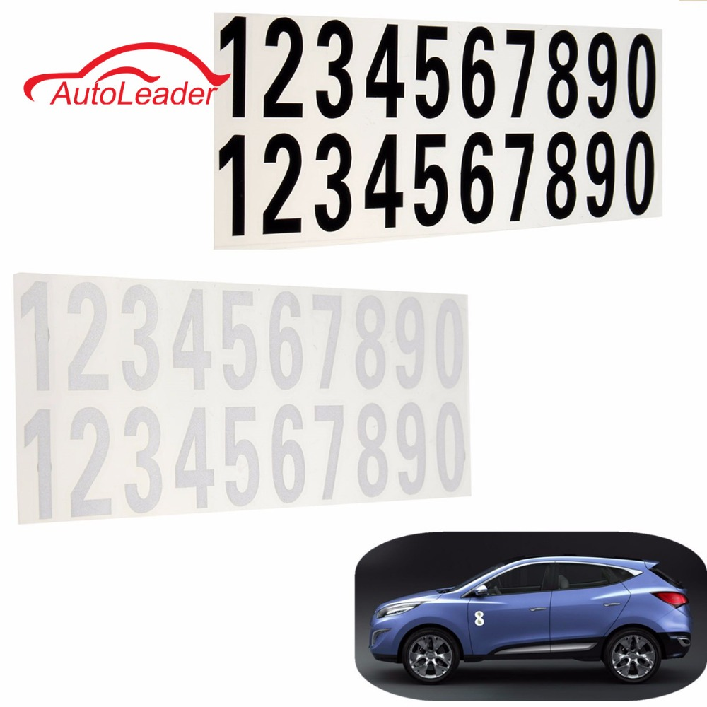 White Black 0-9 Car Number Reflective Stickers Plate House Door Street Address Mailbox Room Gate Vinyl Decal For VW /BMW /Honda