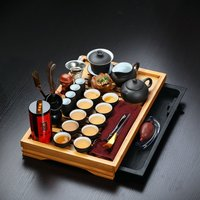 Hot Sale 32 Pieces Drinkware Chinese Yixing Clay Gaiwan Kung Fu Solid Wood Tea Tray Set