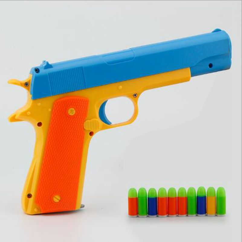 1pcs Classic Pistol Children's Toy Guns Soft Bullet Gun Plastic Revolver Kids Fun Outdoor Game Shooter Safety