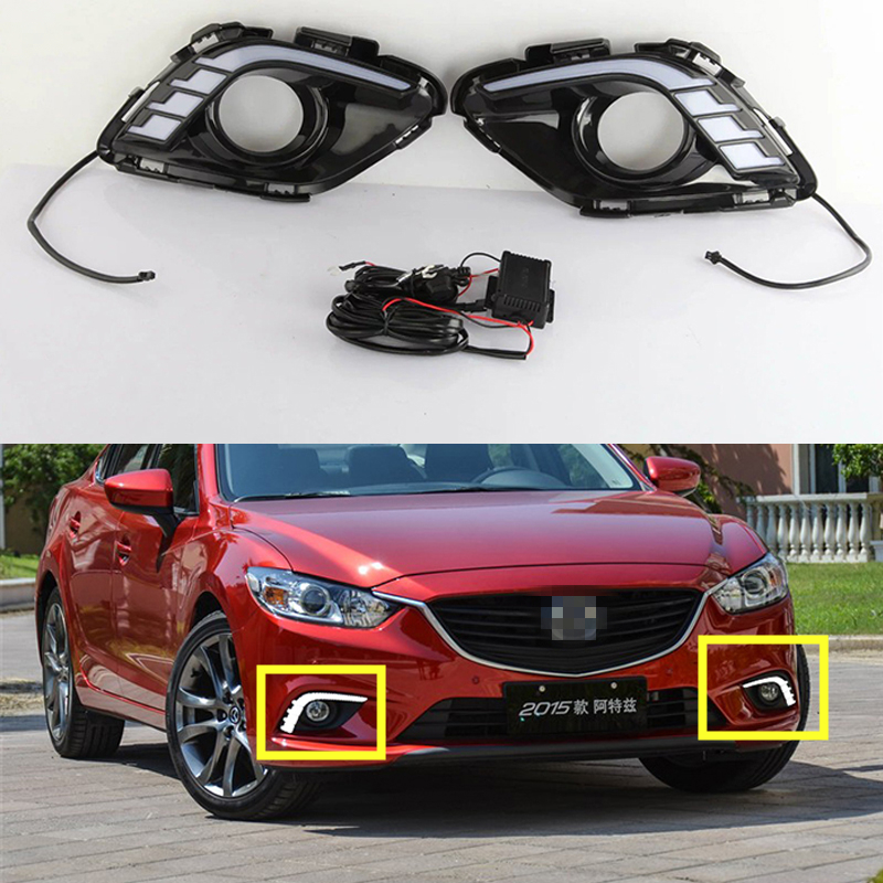 12V LED Car DRL Turning Signal & Dimming Style Relay Daytime Running Lights With Fog Lamp Hole For Mazda 6 Atenza 2013 2014 2015 led 12v turning signal light drl daytime running light for mazda 6 2013 2014 waterproof abs fog lamp decoration