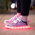 Nuevos niños y niñas transpirable luz led usb recargable casual shoes/impermeable luces brillantes de los niños zapatillas de deporte de ocio