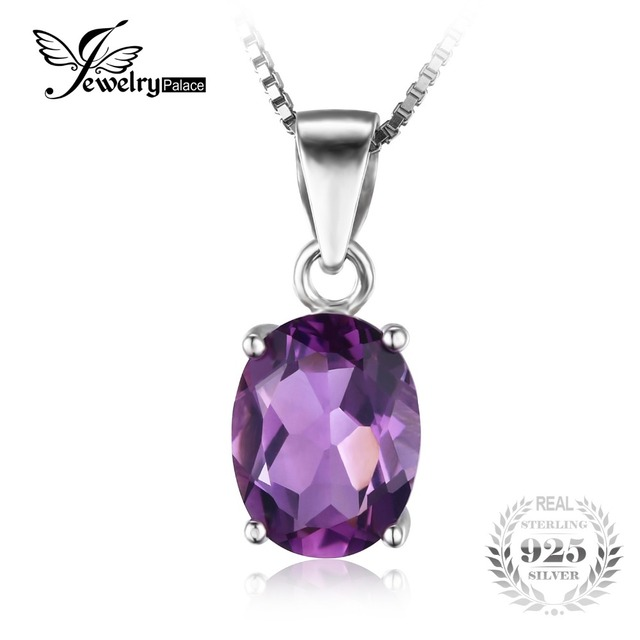 Jewelrypalace 1.7ct oval roxo ametista natural pedra solitaire pingente sólido 925 sterling silver jewelry sem uma cadeia