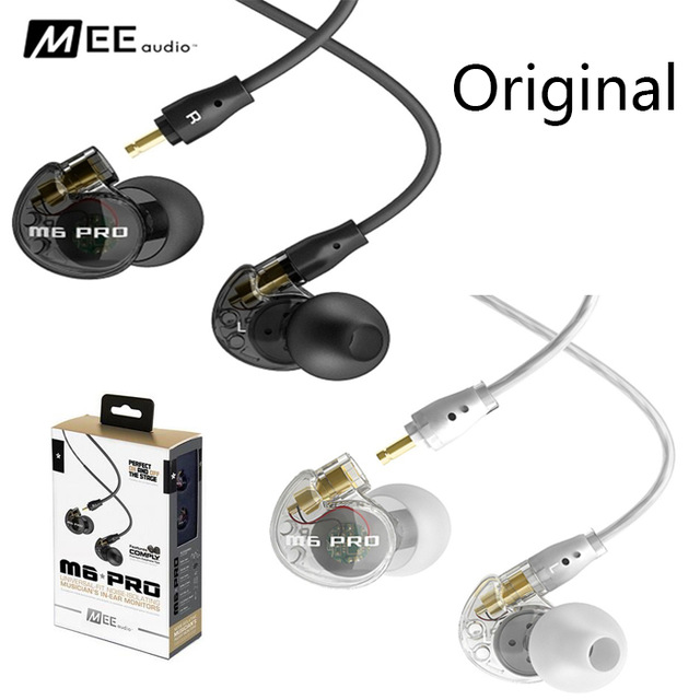 Original MEE audio M6 PRO Wired Headphones Profeesional Music Stereo Noise Isolating In-ear Monitors Headset HIFI Earphones dhl free 2pcs black white m6 pro universal 3 5mm wired in ear earphone noise isolating musician monitors brand new headphones
