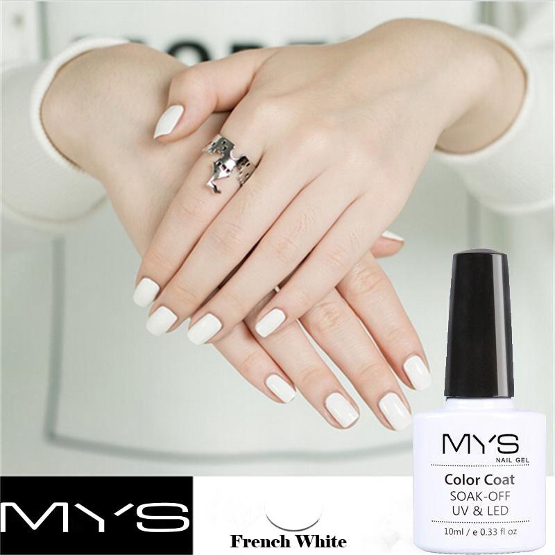 MYS Black White French Manicure Set Gel Nail Polish 10ml Long ...