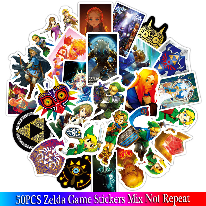 50PCS New The Legend Of Zelda Game Stickers Sets Anime Sticker Lot For Laptop Bicycle Phone Guitarl Cartoon Stickers Pack