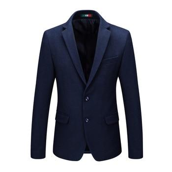 2019 Autumn Winter High Quality Brand New Men's Wool Blazers Wedding Party Male Slim Fit Jacket Men Casual Business Woolen Coats