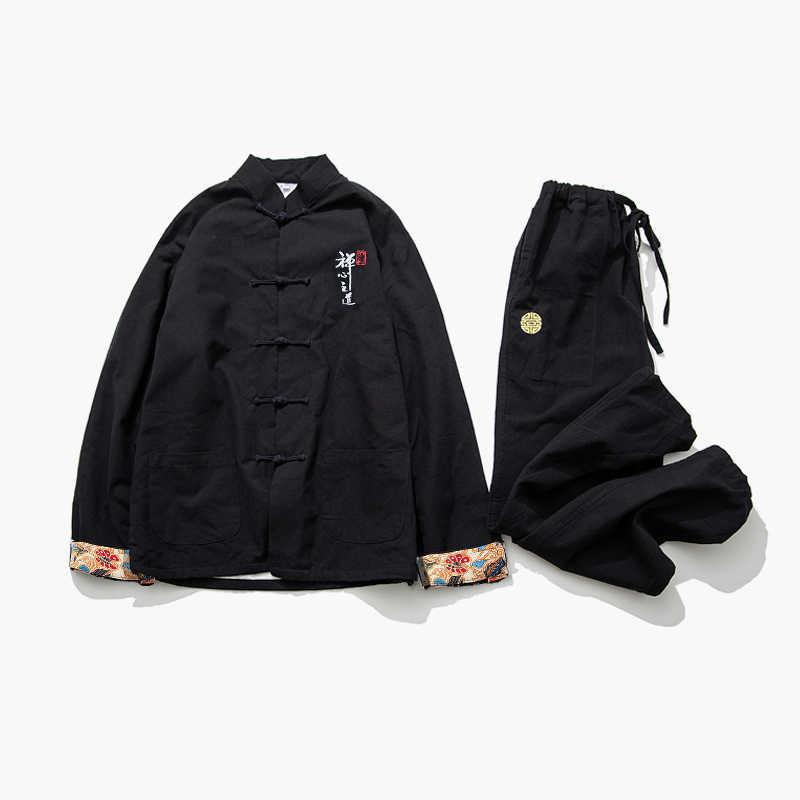 Cigna Schwarz herren Langarm Jacken & Hosen Chinesischen Vintage Stil Bestickt Männer 2 stück Sets Baumwolle und Leinen stoffe S-5XL