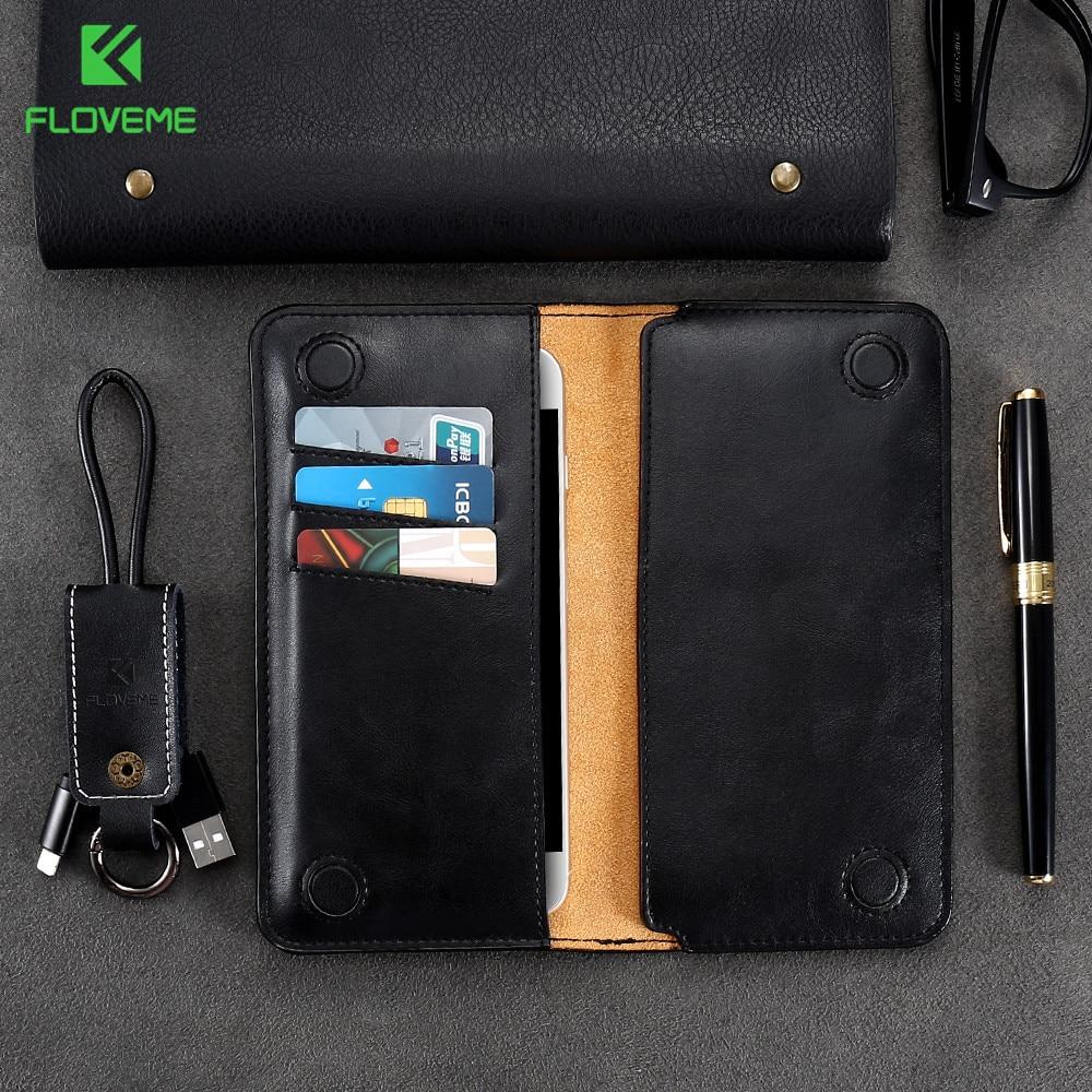 FLOVEME 5,5 tums plånbokväska för Samsung S8 S9 S7 S6 kantomslag Klassisk läderpåse för iPhone X 8 6 s 7 Plus 5 5S se Väska