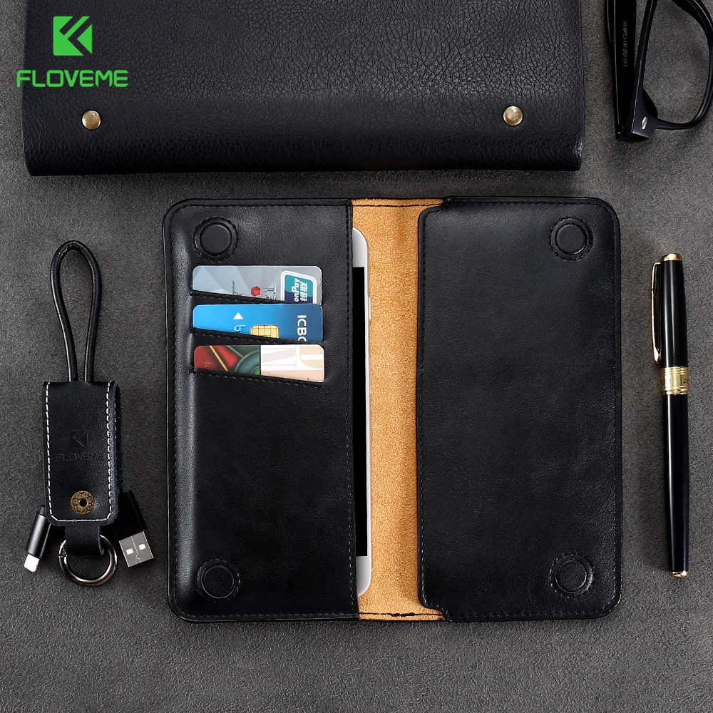 FLOVEME Funda de bolsa de billetera de 5.5 pulgadas para Samsung S8 S9 S7 S6 edge Funda de cuero clásica para iPhone X 8 6 s 7 Plus 5 5S se Funda