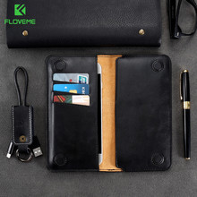 Floveme capa carteira de 5.5 polegadas, bolsa carteira para samsung s8 s9 s7 s6 edge, clássica, bolsa de couro para iphone x capa 8 6 s 7 plus 5 5S se