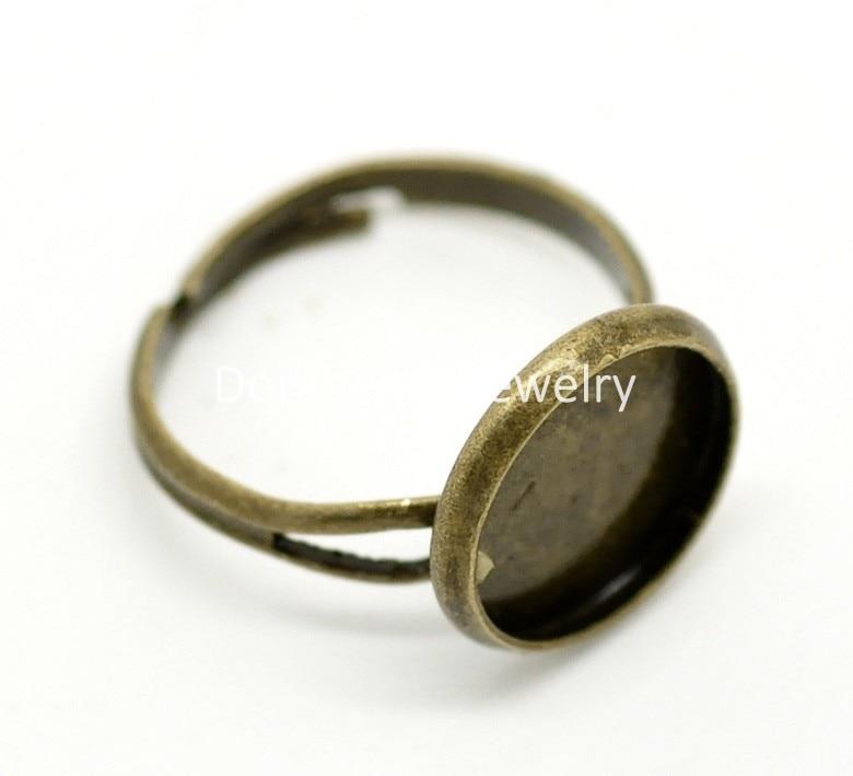 DoreenBeads 20PCs Antique Bronze Adjustable Round Cabochon Ring Settings 16.7mm US 6.25(Fit 12mm) (B18487) yiwu