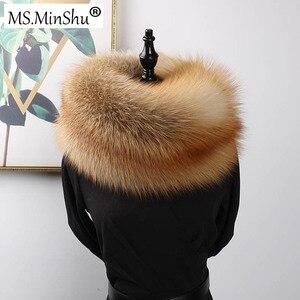Image 3 - MS.MinShu роскошный шарф из натурального Лисьего меха, шарф из лисьего меха, большой размер, шаль из натурального Лисьего меха, зимний женский палантин, бесплатная доставка