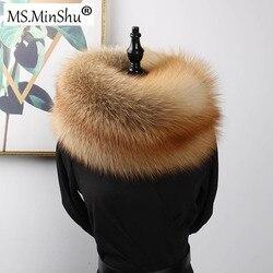 MS. minShu Luxe Echt Vossenbont Sjaal Echte Vos Huid Sjaal Big Size Natuurlijke Vos Bont Sjaal Winter Vrouwen Stole Gratis verzending