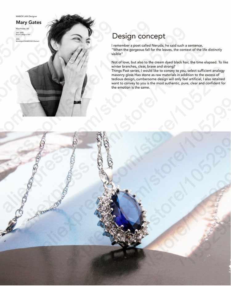 יוקרה נקבה חתונה כלה תכשיטים סט תליית גדול כחול זרוק Cz אבנים עבור ליידי אירוסין תכשיטי יופי
