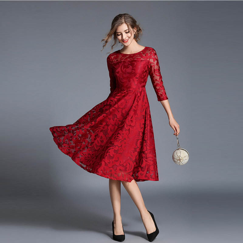 Christmas Evening Dresses.Us 19 99 49 Off 2018 Women Vintage Dresses Luxurious Embroidered Slim Autumn Dress Plus Size Evening Club Wear Christmas Party Dresses In Dresses