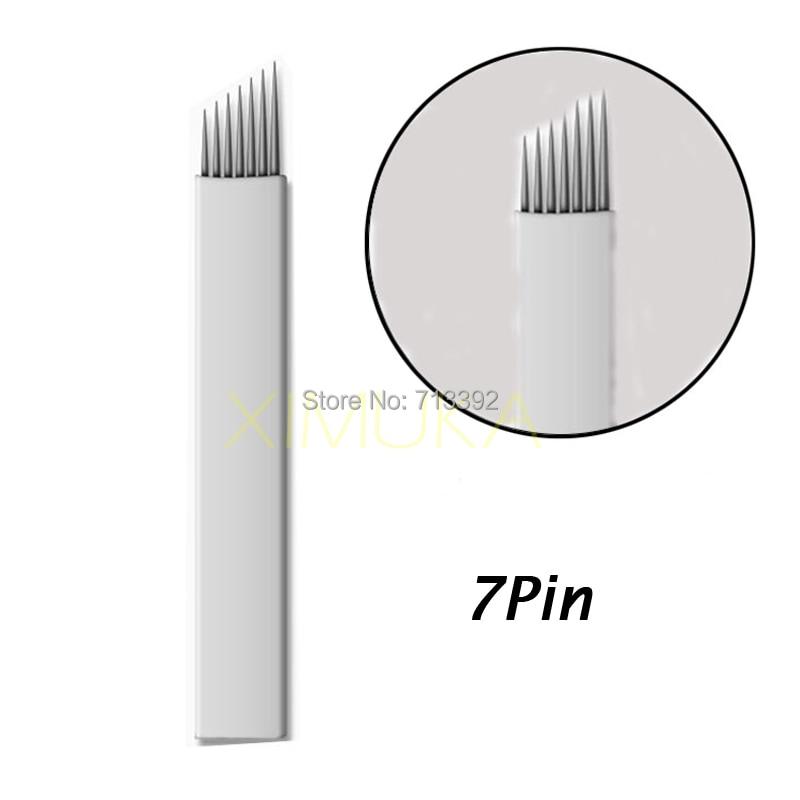 50PCS Fehér 7 Pin Állandó Smink Kézi Szemöldök Tetováló Bevel - Tetoválás és testmûvészet