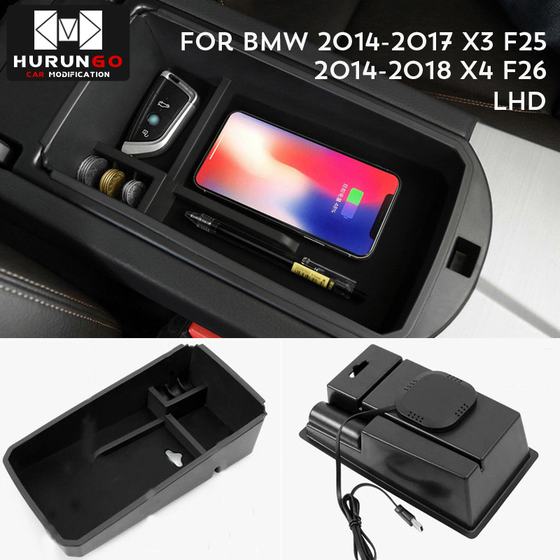 US $18.39 20% OFF|For BMW X3 F25 2014 2017 BMW X4 F26 2014 2018 Mobile phone wireless charging Central Armrest storage box|Interior Mouldings|