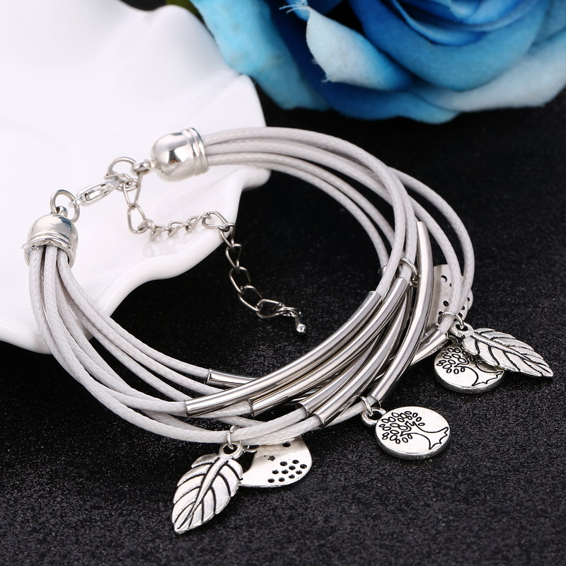 2018 Fashion Silver Charm Leaves Tibetant Silver Multilayer Bracelets For Women Pulseiras Pendant Handmade Bracelets & Bangles