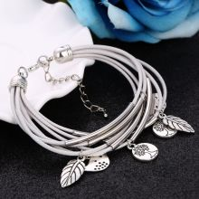 2019 Fashion Silver Charm Leaves Tibetant Silver Multilayer Bracelets For Women Pulseiras Pendant Handmade Bracelets & Bangles(China)
