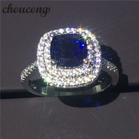 Choucong New Luxury Cushion Cut 8mm Blue Diamonique Zircon Jewelry 925 Sterling Silver Anniversary Wedding Band
