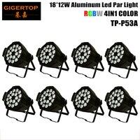 8 paczka aluminiowa obudowa 18x12W 4IN1 Led lampa Par kryty tanie ceny dioda Led rgbw reflektory Par DMX512 4/8CH Led Par 64 sceniczne oświetlenie dj w Oświetlenie sceniczne od Lampy i oświetlenie na