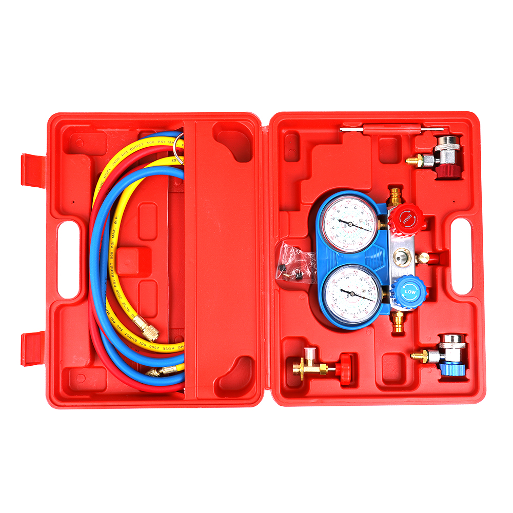 Pressure Gauge Car Air Conditioning Refrigerant Freon Double Valve Barometer Diagnostic Repair Tool Kit For All Automotive