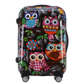 20 inch 55cmx35cmx24cm abs pc plastic owl pattern trolley spinner travel luggage or suitcase for unisex