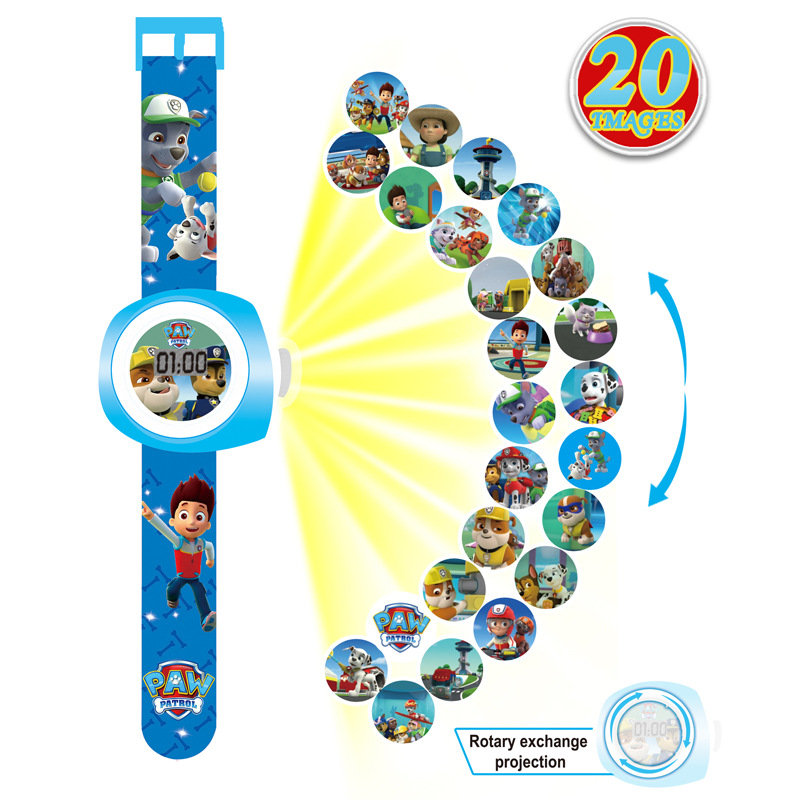 Girls Watch Clock Display Projection Spiderman Kids Party Digital Princess Cartoon-Pattern