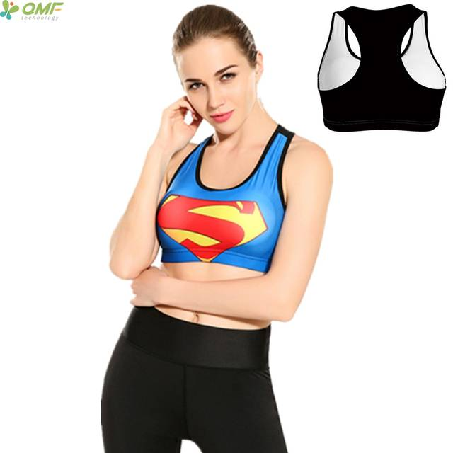 9ed7cfe55b Women Superman Sports Bra Running Vest Fitness Tank Top Blue Red Superman  Logo Yoga Bra Padded