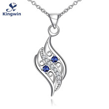2016 new necklace design silver synthetic blue sapphire cz diamond pendant necklace for girls friends jewelry dropshipper