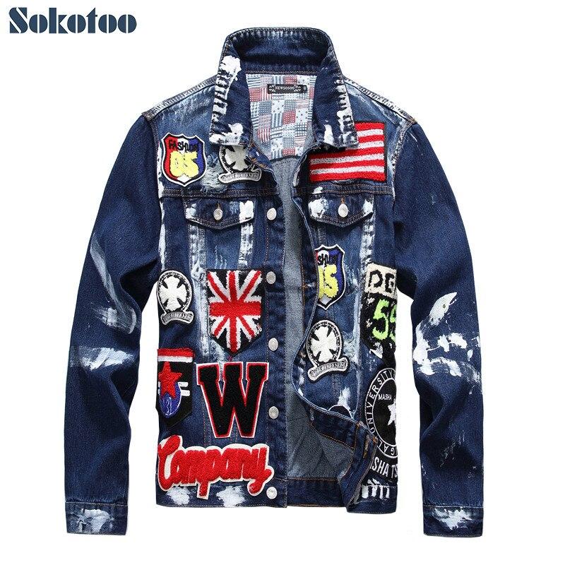 Sokotoo Hommes de drapeau lettres patch conception peint denim veste Slim fit crâne badge patchwork à manches longues jean manteau Survêtement