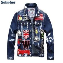 Sokotoo для мужчин флаг буквы патч дизайн окрашены джинсовая куртка Slim fit Череп Значок лоскутное с длинным рукавом Джинсовое пальт