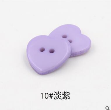 Красивые 1 лот = 100 шт полимерные кнопки в форме сердца 2 отверстия пластиковые кнопки Швейные аксессуары для одежды DIY для детской одежды кнопка мешок - Цвет: 10-light purple